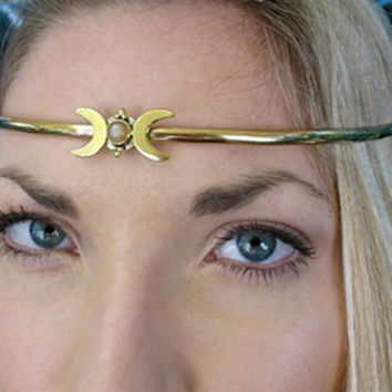 Crescent Moon Circlet  Silver and Brass Celtic,Druid,Wicken,Pagan, Ritual