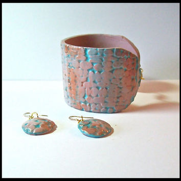 Cuff Bracelet 2 in. Polymer Clay Pinkish Beige and Aqua with Copper Touches Handcrafted Magnetic Clasp