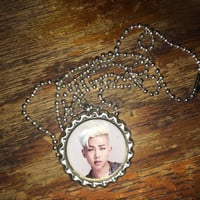Rap Monster BTS K-Pop face bottlecap necklace