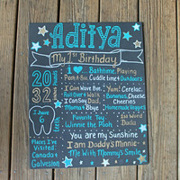 Boy 1st Birthday Chalkboard - Stars Birthday Chalkboard - Teal and Gold Birthday - Boys Chalkboard Poster - Twinkle Twinkle Little Star