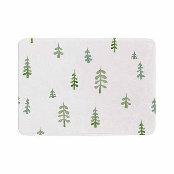 "Jennifer Rizzo ""Watercolor Pine Trees"" Green White Nature Abstract Watercolor Painting Memory Foam Bath Mat"