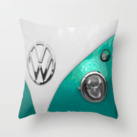 VW Split Screen in Teal Throw Pillow by Alice Gosling