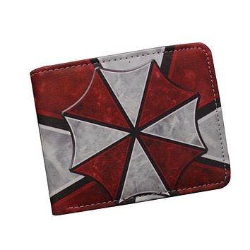 New Arrival Short Men Wallet Purses Biohazard And Umbrella RESIDENT EVIL Wallet Leather Money Bag Clip Cards Holder Game Wallet