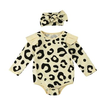 Newborn Toddler Baby Boys Long Sleeve Leopard Print Romper Jumpsuit+Headband baby girl romper Clothes Set
