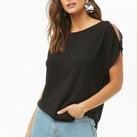 Open-Shoulder Crepe Top
