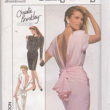 Vintage 1980s pattern for special occasion cocktail evening dress Christie Brinkley collection misses size 14 Simplicity 8944 UNCUT