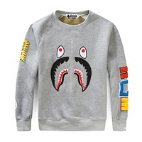 Bape 2018 new tide brand men and women couple round neck loose hooded sweater F-A-KSFZ Grey