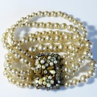 Original by Robert 5 Strand Glass Pearl and Rhinestone Bracelet