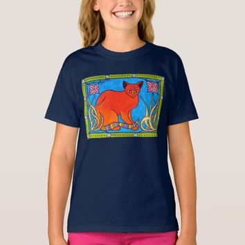 Indian Cat With Lilies - Cat Art T-Shirt