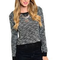 Textured Long Sleeve Striped Knit Sweater