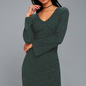 Lewisburg Heather Forest Green Bodycon Midi Dress