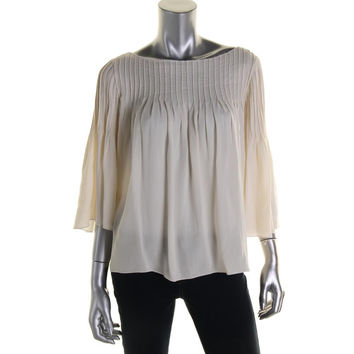 Catherine Malandrino Womens Silk Pintuck Blouse