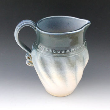 Stoneware Pitcher - blue and white - Pottery pitcher