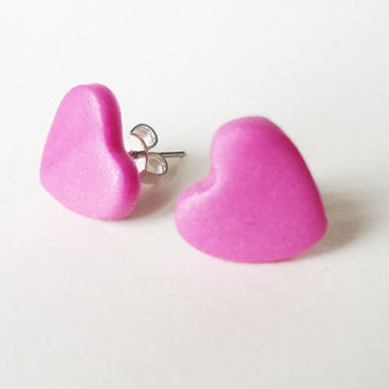 CANDY PINK HEARTS  stud earrings  glittery  other by FrozenNote