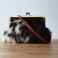 Cowhide clutch, hair on hide clutch, leather clutch with strap, kiss lock frame purse, fur clutch