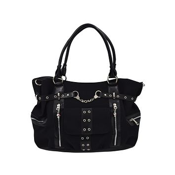Rise Up Handcuff Goth Punk Rock Black Tote Crossbody Bag Purse