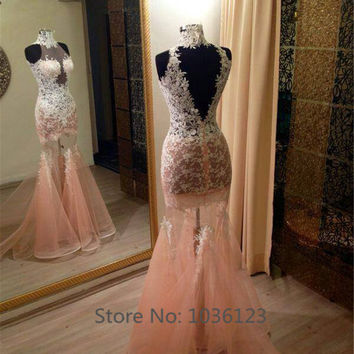 Vestidos de fiesta Custom Appliques See Through Sexy Long Elegant Mermaid Prom Dresses 2015 Women Summer Formal Evening Party