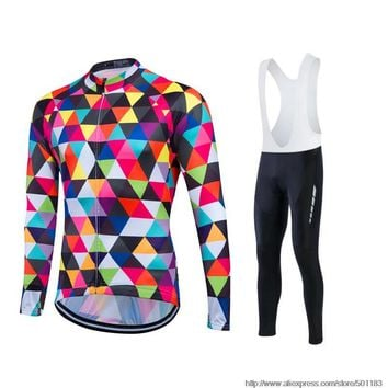 Fastcute Ropa ciclismo Autumn Cycling Jersey Long Sleeve Jackets Pantalones Bicycle Wear Bike Clothing MTB Maillot Ciclismo