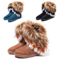 Fashion Women's Princess Shoes Warm Fringed Fur Winter Snow Casual Boots