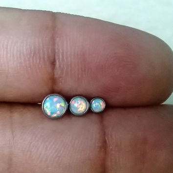 White fire opal 316L Surgical Steel 16g, 16 gauge cartilage, tragus/helix earring