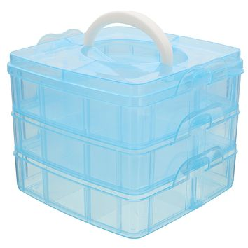 3 layers Clear Jewelry Bead Storage Box Container Organizer Case Craft Tool,Blue color