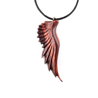 Angel Wing Necklace, Angel Wing Pendant, Mens Necklace, Wing Necklace, Wood Wing Pendant, Carved Wood Wing Necklace, Angel Wing Wood Jewelry