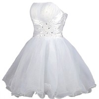 Faironly White Mini Short Above Knee Formal Prom Ball Gown Cocktail Dress