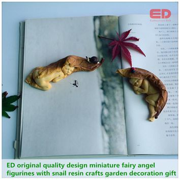 Everyday Collection 2pcs set miniature fairy angel figurines snail simulation garden decoration gift  Christmas tree decorations