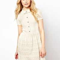 River Island Lace Placket Dress at asos.com