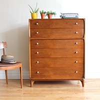 Tall Mid Century Modern Highboy Dresser