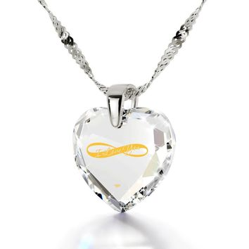 """I Love You Infinity"", 14k White Gold Necklace, Cubic Zirconia"