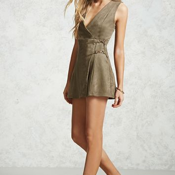 Faux Suede Wrap Dress