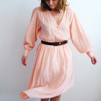 70's salmon silk dress, subtle floral pattern, bishop sleeves, summer dress, silk crepe de chine