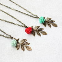 Mint Rose Necklace Bridesmaids Gift Garden Wedding Bright Colorful Jewelry Antiqued Brass Branch Aqua Teal Necklace Coral Red Rose Pendant