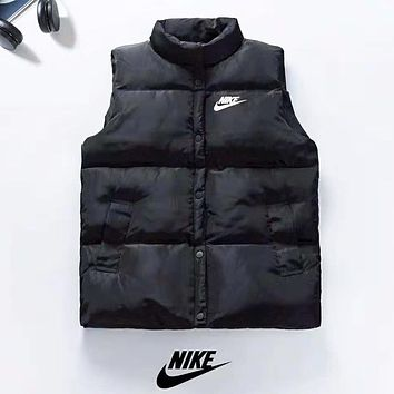 NIKE Autumn And Winter New Fashion Bust And Back Letter Hook Print Keep Warm Vest Top Down Coat Black