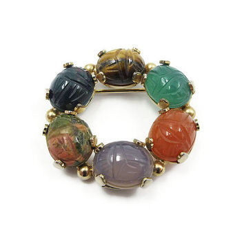 Cassell Gold Filled Scarb Gemstone Brooch - Carnelian, Tigers Eye, Bloodstone, Chalcedony, Chysoprase, Unakite, Vintage Brooch, 12K Gold