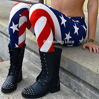 AMERICAN FLAG Stars & Stripes Red White Blue 4th Patriotic USA Leggings Pants