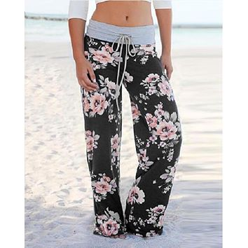 Favorite Floral Drawstring Wide Leg Pants