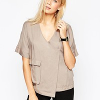ASOS Wrap Utility Blouse at asos.com