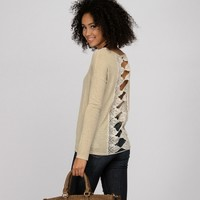Sale-natural 3/4 Crochet Back Top