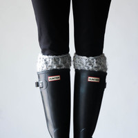 Boot Warmers Leg Warmers Boot Cuffs / THE WELLINGTONS / Grey Marble