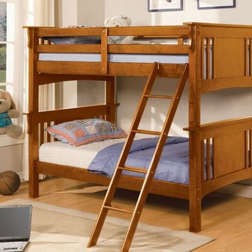 Miami collection oak finish wood Twin over Twin bunk bed with mission style headboard and footboards
