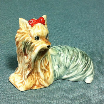Miniature Ceramic Yorkshire Dog Animal Cute Little Funny Tiny Small Grey Brown Figurine Statue Decoration Collectible Hand Painted Craft