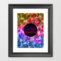 HELLO BEAUTIFUL Colorful Art Typography Inspirational Abstract Watercolor Painting Ombre Rainbow Framed Art Print by EbiEmporium