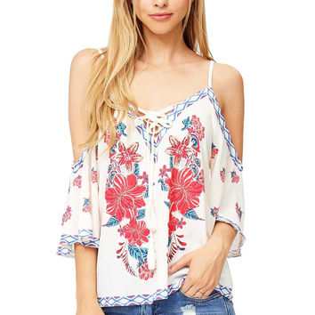 Lucy Bloom Cold Shoulder Blouse
