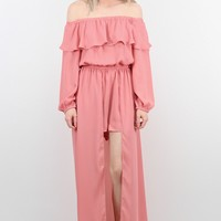 Sleeved Off Shoulder Maxi Cape Romper {Dusty Pink}