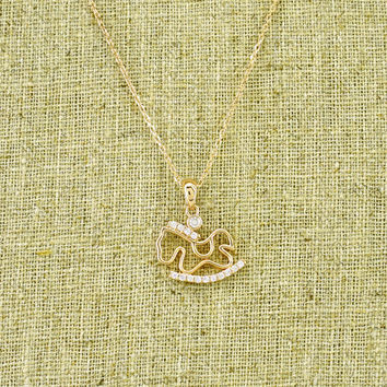 Gold Plated Rocking Horse Necklace