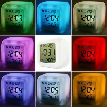 Cube Digital Clock LED 7 Color Glowing Change Digital Glowing Alarm Clock Thermometer Clock despertador