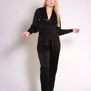 Black Sequin Batwing Jumpsuit / XS