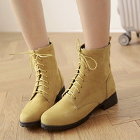 Women Ankle Boots Lace Up Flock Low Heeled Shoes Woman 2016 3579